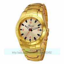 100pcs/lot gescar-7010 big round dial red number steel watch for man color dial three eyes circles alloy watches wholesale clock(China)