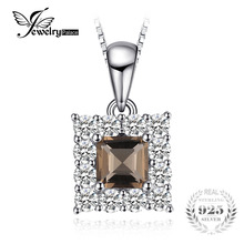 JewelryPalace Succinct 0.6ct Square-Cut Genuine Smoky Quartz Halo Pendant Necklace 926 Sterling Silver Gift New Arrival Jewelry(China)