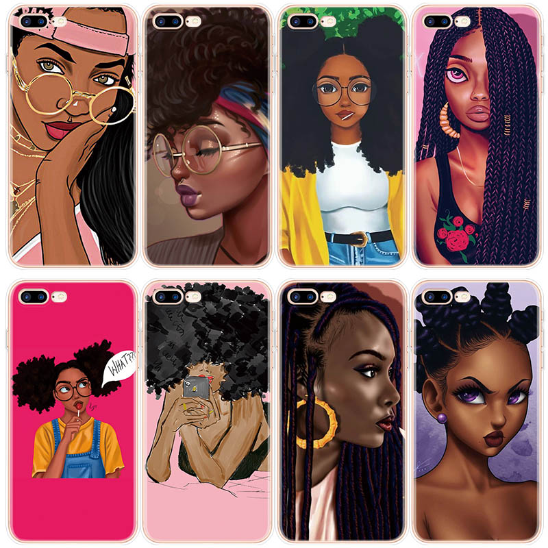 Afro Girls Black Women Art Silicone Case FOR iPhone 10 X XS Max XR For iPhone 5 5S SE 6S 6 4 4S 7 8 Plus Case For iPhone 8Plus(China)
