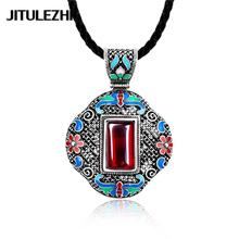 Women's Tibetan silver crystal Necklace pendant african jewelry choker necklace red stone jewelry Jewelry supplier gift