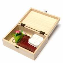 Elegent&Beauty Handmade Craft Home Storage Box Natural Wooden With Lid Golden Lock Postcard Home Organizer(China)