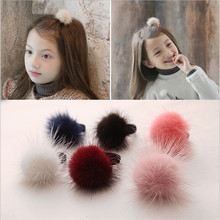 4Pcs/lot Fashion Korean Cute Hair Clip Children Fur Ball Headband Sweet Hair Accessories Boutique Baby Barrettes Girl Duck Clip(China)