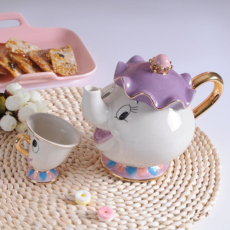 New-Cartoon-Beauty-And-The-Beast-Teapot-Mug-Mrs-Potts-Chip-Tea-Pot-Cup-One-Set (1)