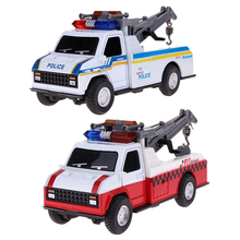 1:28 Zinc Alloy Pull Back Car Toys Model Kids Children Police Crane Car Firefighting Truck Toy Musical Flashing Function(China)