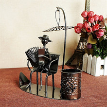 1 set Decoration Iron Craft Pen Holder Metal  Novelty crafts Kids iron toys Figurine Miniatures Home Decoration Accessories