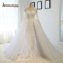 Luxury Detachable Train Wedding Dress 2017 Arabic Patterns