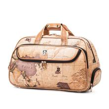 Men Map Printing Fixed Wheels Leather Trolley Bag Waterproof Retro Business Trolley Duffle Bag with Wheels Short-term Travel Bag(China)