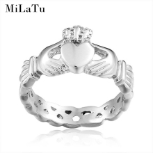 MiLaTu Irish Claddagh Rings For Women Hand Love Heart Crown Wedding Engagement Ring Best Friends Friendship Ring Alliance R186G(China)