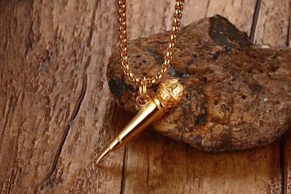 Mens Gold Plated Microphone Pendant Necklace Rock Punk Jewelry 14