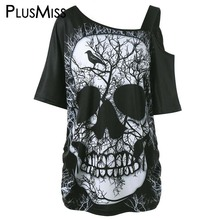 PlusMiss Plus Size 5XL Skew Collar Skull Print T-shirt Women Summer 2017 One Shoulder Loose Top Tee Shirt Sexy Big Size T Shirts(China)
