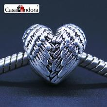 CasaPandora Fashion European Silver-colored Heart Angel Wings Fit Bracelet Charm DIY Jewelry Making(China)