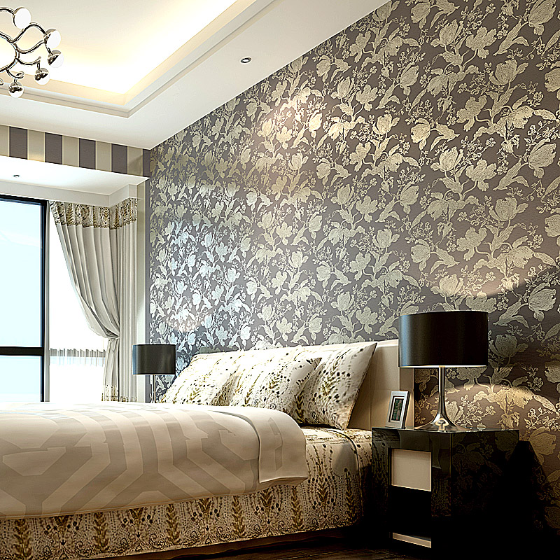 Jin Poou upscale living room bedroom TV background wallpaper pastoral retro nonwoven fabric gold silver<br><br>Aliexpress