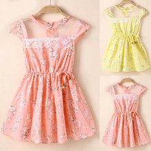 Factory Price! Summer Baby One-Piece Kid Girl Lace Floral Tunic Princess Party Dress Size S-XL