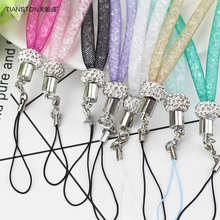 TIANSTON phone rope neck lanyard Crystal grid strap key phone case breast plate rope buckle ring rotary rope for iphone huawei(China)