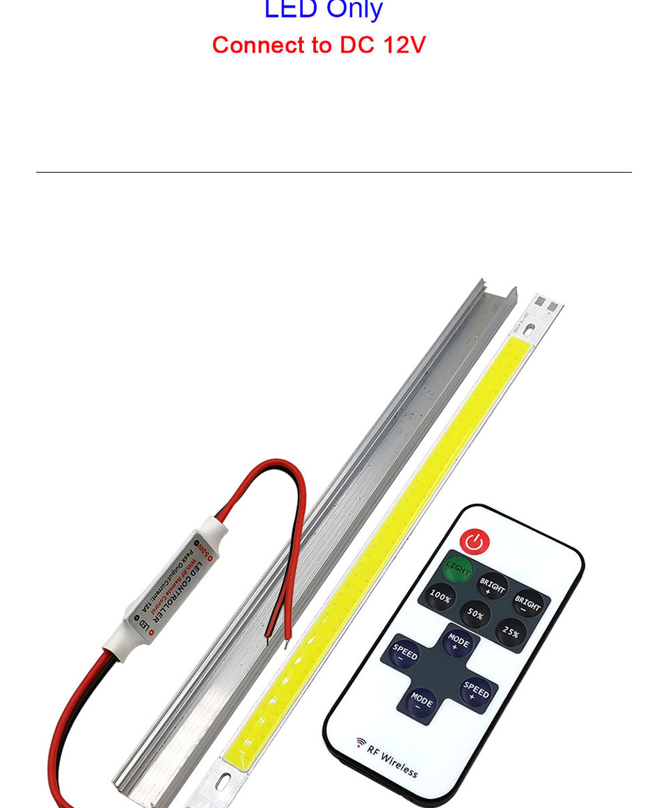 Strip LED Light 12V 10W Lamp with Controller for House Decor Car Lighting Dimmable COB LED Bulb 20CM Bar Lights White Red Blue (9)