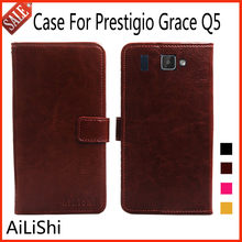AiLiShi Flip Leather Case For Prestigio Grace Q5 Case High Quality Protective Cover Phone Bag Wallet With Card Slot !(China)