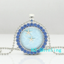 New Starfish Crystal Necklace Star Fish Pendant Glass Sea Picture Jewelry Silver Ball Chain Necklaces Pendants Zinc Alloy