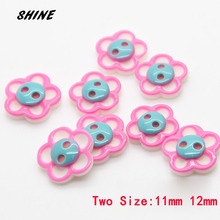SHINE Resin Sewing Buttons Scrapbooking Flower Pink Two Holes Shirt 11\12mm 30 PCs Costura Botones Decorate bottoni botoes(China)