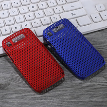 High quality popular back PU mobile phone case for Nokia E72 pure color grid hole protective shield shells(China)