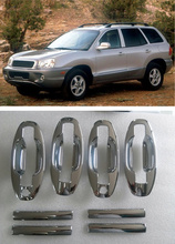 FUNDUOO New ABS Chrome Door Handle Covers trim + Cup Bowl For Hyundai Santa Fe 2001 2002 2003 2004 2005 2006 Free Drop Shipping(China)