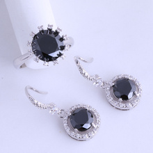 Fashion Round Black Imitation Onyx Cubic Zirconia 925 Stamp Silver Color Ring & Drop Earring Jewelry Set for Women JS013