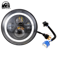 pair led halo headlight kit 45W 7'' H4 LED Headlight with turn Signal Angle Eyes DRL for 97-15 Jeep Wrangler tj cj jk defender(China)