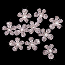 New Hot Sale Phenovo Crystal Flower Rhinestone Buttons DIY Craft Embellishment Silver Sewing Supplies Free Shipping