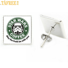 TAFREE exquisite handmade glass dome star wars photo jewelry wome nmen stud earrings fashion movie theme jewellery gifts MV120