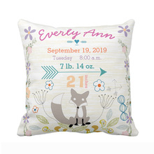 Custom Birth Stats Baby Girl Woodland Creatures Fox Pillow Cover Decorative Cushion Covers Personalized Pillow Case For Sofa