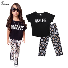 2017 New 2 Pieces Cotton Girl Set Fashion Girl T Shirt+Pants Kids Girls Clothes Casual School Children Girls Clothing Sets