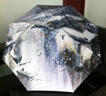 Jiangnan Water Town Snow Winter Oil Painting Sun Rain Art Umbrella 3 Fold Anti Uv Fashion For Impressionism Free Shipping