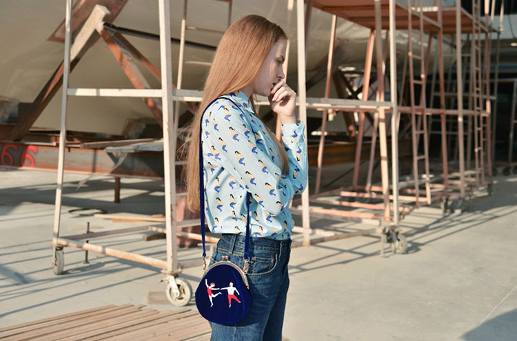 MSMO New YIZIStore Vintage Velvet Embroidery Shoulder Bags Women Messenger Bags Round Shape Clasp Bag YIZI Original Designed 05