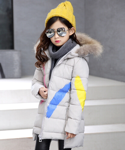 Warm girls winter coats cotton children parka thick cotton-padded hooded winter jackets for girl kids long outerwears  <br>