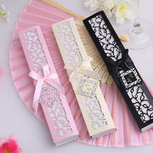 1 set Chinese vintage Style Silk Fold Fan with Box For Wedding and party gift