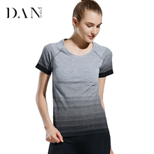 DANENJOY 2017 Women's Sports Yoga Shirt Breathable Gym Running Fitness T-shirt Gradient Color Quick Dry Tank Tops Short B-90(China)