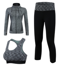 Buy New Arrival Quick Dry Workout Sport Suit Women 3pcs Yoga Sets (Jacket+Pant+Bra)Jogging Suit Fitness Black Gym Tracksuit Clothing for $29.99 in AliExpress store