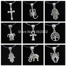 Fashion Vintage Silver Lucky Tree /Elephant/Turtle/Owl/Hand of Fatima Khamsah Pendants Ankh Necklace Gift YN481(China)