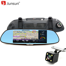 Free 16GB card Junsun 7 inch 3G Car GPS Navigation Android WIFI DVR Camera video recorder Rearview Mirror Vehicle gps navigator(China)