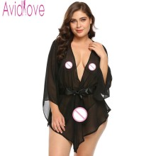 Buy Avidlove Plus Size Transparent Lace Robe Women Babydoll Lingerie Sexy Hot Erotic Sex Costumes Kimono Bathrobe Dressing Gown