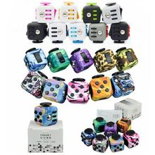 Camouflage Blue Wood Spinner Fidget Cube Toys A Vinyl Desk Squeeze Fun Toys For Kids Adults Mini Fidget Spin Toys Magic Cubes