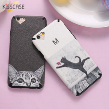 KISSCASE Fashion Art Print Case For iPhone 6 6s 6plus 6splus Sexy Couple Lovely Cat Strip Phone Cover Heart Silk Soft TPU Shell