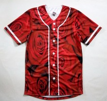 2 Colors Real American Size roses 3D Sublimation Print Custom made Button up baseball jersey plus size