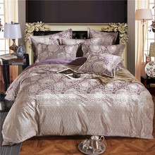 Purple Color Jacquard Luxury Bedding sets 4 Pcs Queen/King size Fleece fabric Bed set Bed linen Duvet cover pillow(China)