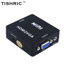 Original TISHRIC Black HDMI2VGA HD 1080P MINI HDMI to VGA Converter With Audio Video Box Adapter For Xbox360 PC DVD PS3