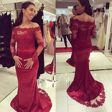 Elegant Burgundy Long Sleeve Mermaid Prom Dresses Designer Boat Neck Appliques Lace Formal Evening Gowns Cheap Lace Prom Dress