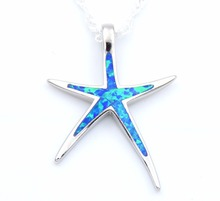 Starfish Opal Pendant Necklace with Free Wave Chain Beach Themed Summer Jewelry(China)