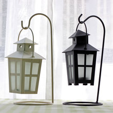 AIBEI-Morocco Style Creative Wrought Iron Palace Lantern Candle Holders 1PC Glass Storm Lantern Candlestick Home Wedding Decor