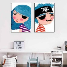 Personalized Cartoon Acted Pirate Boy Girl Yearn for Ocean Blue Canvas Painting Art Poster Wall Pictures for Children Room Decor