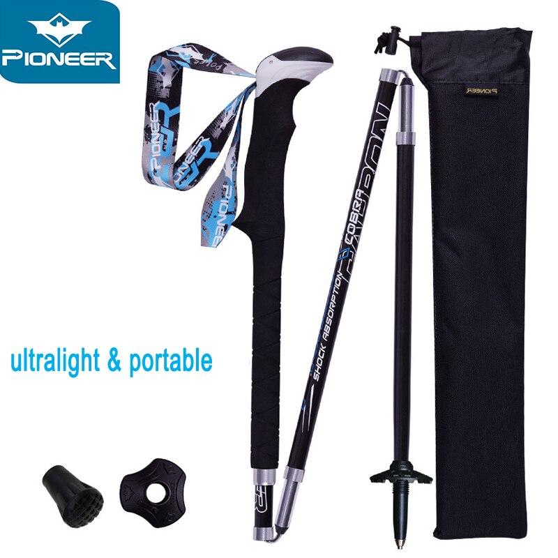 2 PCS Carbon Fiber Folding Ultralight Walking Sticks Lightweight Collapsible Trail Running Hiking Poles Cane<br>