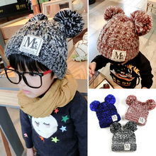 2015 New Children Winter Hats  Korean Double Color Yarn Ball Fall Cotton Cartoon Cap Warm Unisex Baby Boys Girls Free Shipping